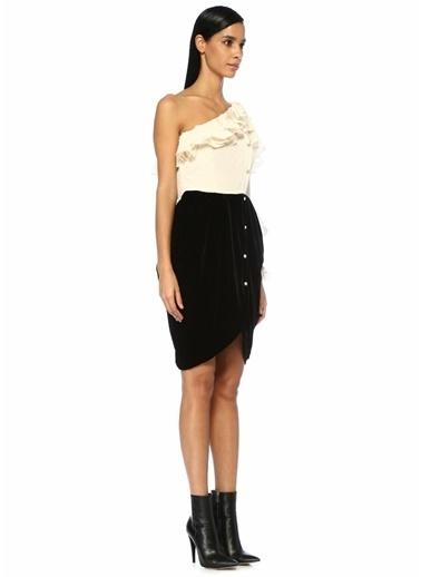 Philosophy Di Lorenzo Serafini Tek Omuzlu Garnili Mini Elbise Siyah